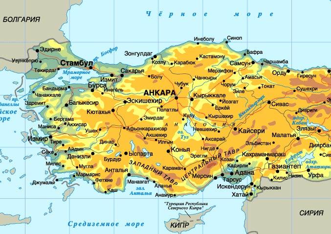 карта турции фото